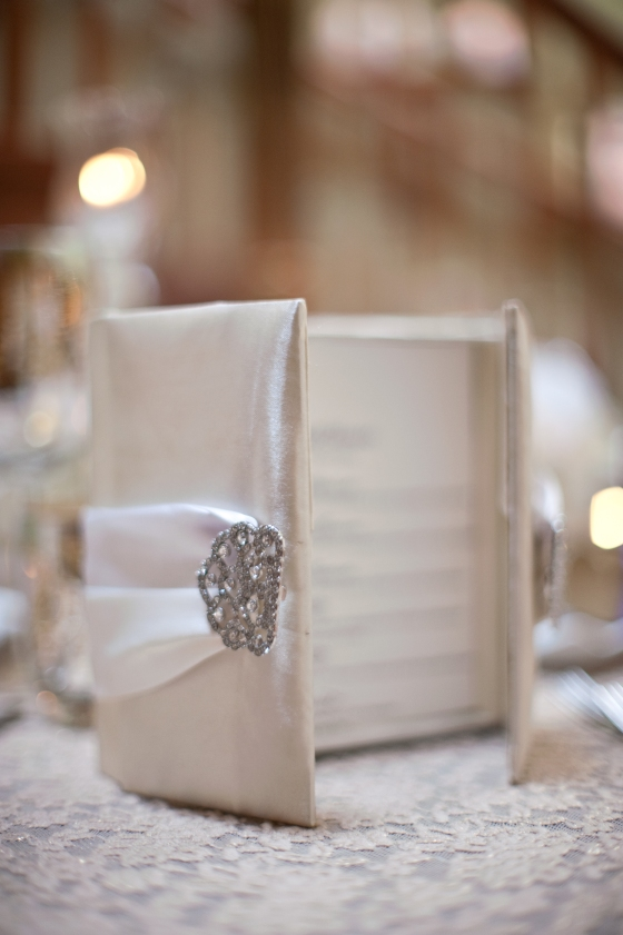 These folios can also be used as menu's either personalized or popping some glam on each table as seen here!