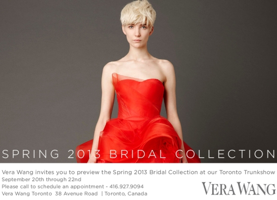 Vera Wang Toronto Call for an appointment : 416-927-9094